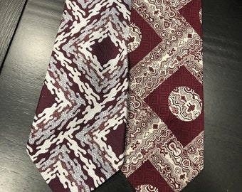 "Vintage 70's Poly Necktie Lot of Two Ultra Wide ""Commodore"" & ""Prince Consort"" Minty Fresh Maroon Textured Polyester Glory!"