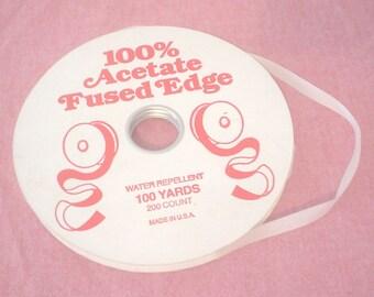 Vintage NOS Dead Stock 100% Acetate Fused Edge White Ribbon Water Repellent Christmas Packaging Applique Trim Ribbon Party Scrapbook BIN