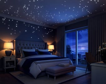 Glow In The Dark Stars: 252 Romantic  Realistic Dots And Moon Wall Decals –  Stars For Ceiling For Any Bedroom, beautiful wall stickers .