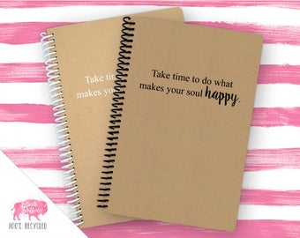 Spiral Notebook | Spiral Journal Planner | Journal | 100% Recycled | Soul Happy | BB023