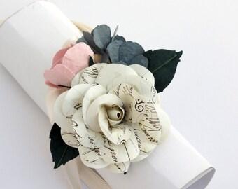 Paper Flower Wrist Corsage - Ivory Blush Wedding Corsage - Paper Flower Corsage