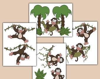MONKEY WALL DECALS Baby Girl Boy Jungle Safari Animals Nursery Decor Kids Room Childrens Hanging Swinging Vines Bedroom Art Stickers
