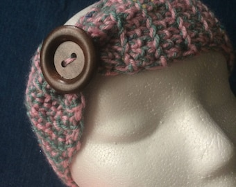 Baby pink and teal headband