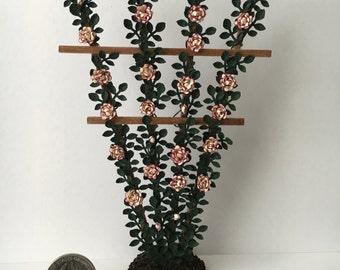 Dollhouse Miniature Rose Trellis Two Tone Roses Artist Made