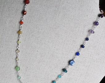 Gemstone Rainbow Jewelry Chakra Power Necklace or Wrap Bracelet Handmade Yoga Meditation Silver Chain Adjustable Shimmer Shimmer