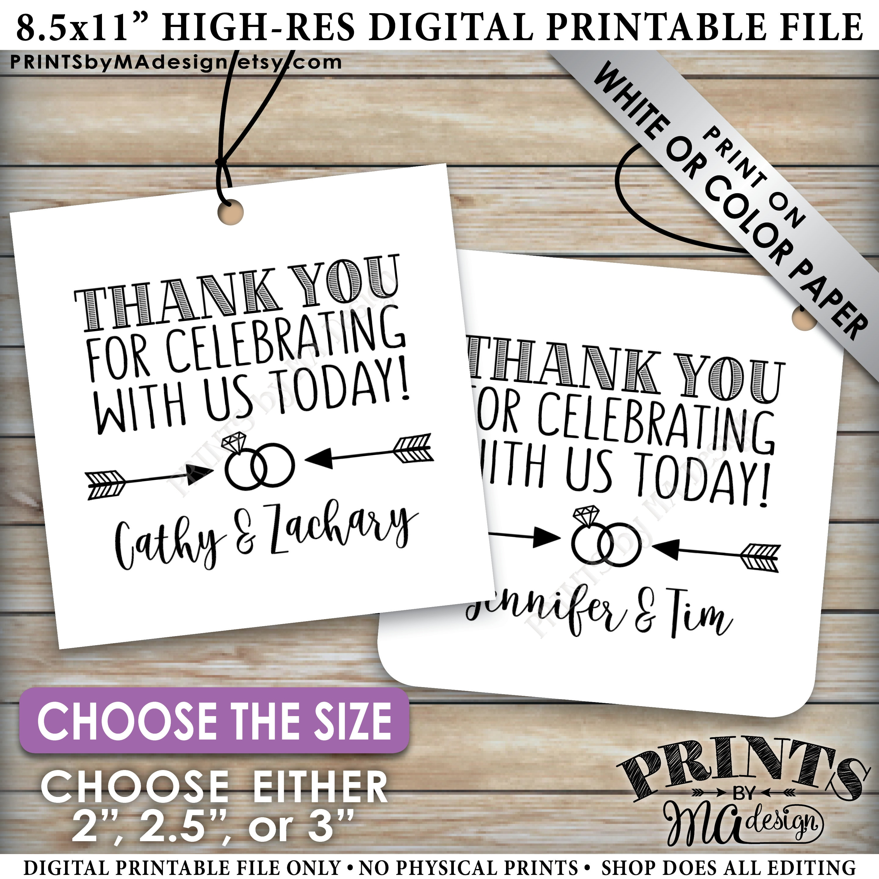 Wedding Favor Tags, Thank You for Celebrating With Us, Engagement ...
