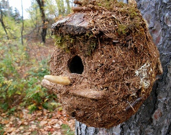 Outdoor Birdhouse, Rustic Mossy bird house with Deer Antler Perch and Forest Finds, garden art, woodland birdhouse, landscaping project