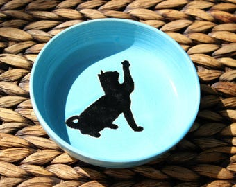 Ceramic CAT Food Bowl - Cat Water Bowl - Handmade Blue Stoneware Cat Bowl - Black Cat Silhouette - Ready To Ship