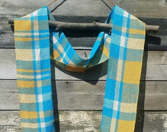 Handwoven Scarf, Lightweight Wool Scarf,  Blue Yellow & White Scarf, Long Scarf, Woven Scarf,Fashion Scarf