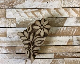 Vintage Wood Printing Block Stamp Made in India Floral/Flower Design (#49)