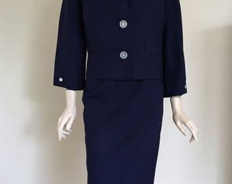 ON SALE  Vintage Deadstock 60's Navy Suit  / Large / Secretary