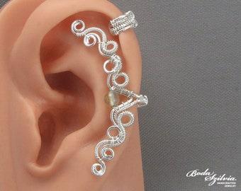 prehnite cartilage ear cuff - elegant cartilage ear cuff, wire wrapped ear cuff, prehnite jewelry, bridal ear cuff, wedding gift jewelry