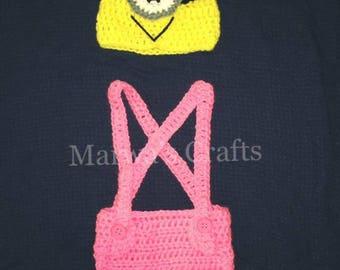 Minion Crochet Costume Photo Props 0-6 Months/ Boys-Girls