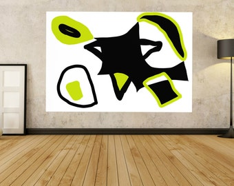 large abstract painting modern painting black white