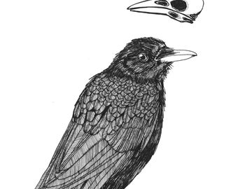 crow thoughts: funeral ORIGINAL illustration ink on paper  6 x 6