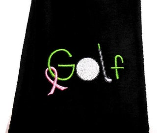 Golf towel, pink ribbon, breast cancer, gift for her, lady golf towel, personalize golf, womens golf, embroidered towel, golfing gift,