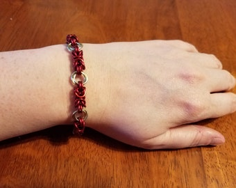Red & Gold Byzantine Chainmail Bracelet