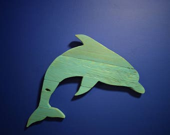 Hand Made Wooden Rustic Dolphin - Hanging Decor
