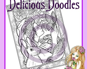 Digital Stamp, Colouring Page - Goddess Page, March, Spring Equinox