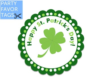 St. Patricks Day Favor Tags - St. Patricks Day Party Favor Tags, St. Patricks Day Tags, St. Patricks Day Party Printables, Party Decor
