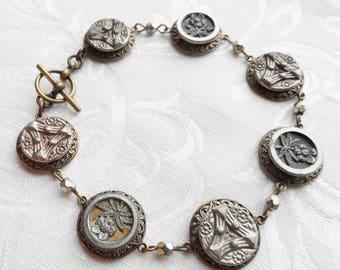 Antique Button Bracelet, Floral Design, Shades of Gray Tint, Sample Buttons, Antique Brass, Tin Rim, Timeless Trinkets