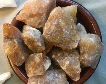 Raw HONEY CALCITE piece / chunks gemstone specimen / solar and crown chakra crystal grid