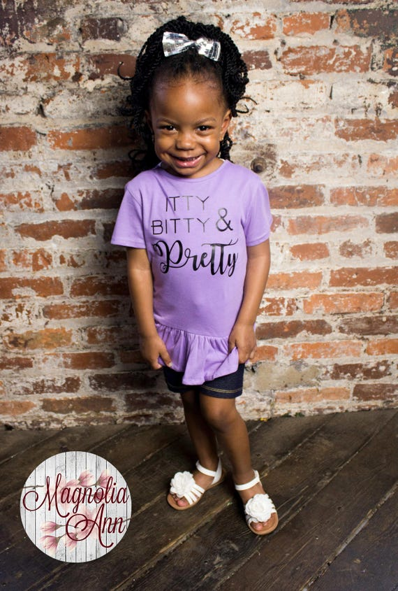 Itty Bitty & Pretty, Toddler, Little Girls Ruffle Tee in 5 Colors in Sizes 2T-Girls Large