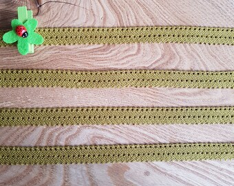 Lace two-tone, green olive 100% cotton (DMC) 15mm