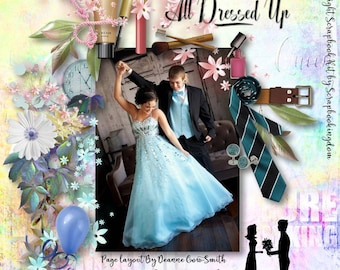 PROM NIGHT Digital Scrapbooking Kit Huge  kit with theme for boy / Girl Prom photos Mix your color theme