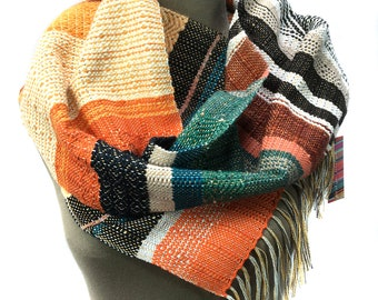 Dorret | Handwoven Fiery Orange Textured Scarf | Colorful Womens Fashion | Woven Gifts for Her | Chevron + Diamond Patterned Scarf | H81