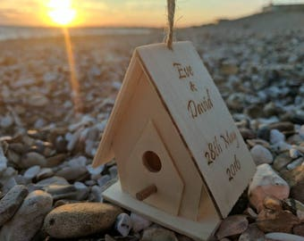 Personalised bird house ornament - new home - first home - new couple - wedding gift - engagement gift - house warming - love keepsake