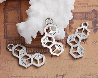 10 charms shaped Hexagon / 2.3 cm silvered Metal socket / Animal / bug / bee