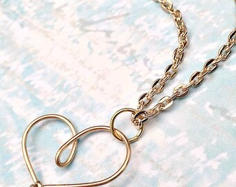 Gold Heart Necklace - Wire Wrap Jewelry - Monogram Pendant - As Seen on TV - Golden Heart Jewelry - As Seen on Law and Order:SVU