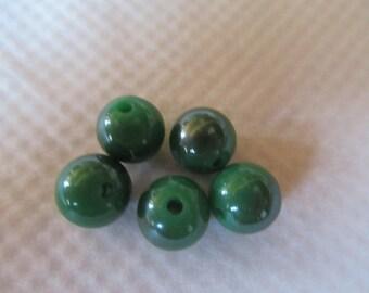 lot de 5 perles rondes bicolores a jolis reflets verts menthe et gris argentés 1.2 cm  pour de belles créations bijoux