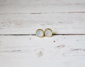 The Charlotte - White - Super Sparkle Druzy Stud Earring