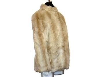 60s Faux Fur Coat, Short Faux Fur, Cropped Winter Coat, 1960s Short Jacket, Faux Fur Jacket,  Beige White Faux Fur, Fun Fur Jacket