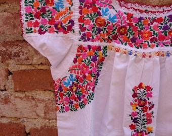 Vintage Style Mexican San Antonino Dress Bohemian Hippie Frida Kahlo Style S M