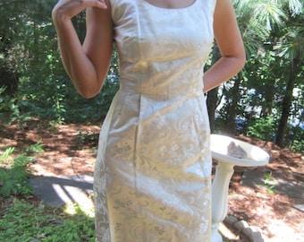 Vintage Ivory Satin Wiggle Dress