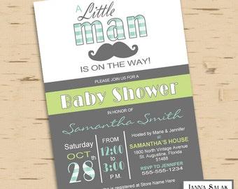 Little Man Baby Shower Invitation Printable Blue Green Grey LM005