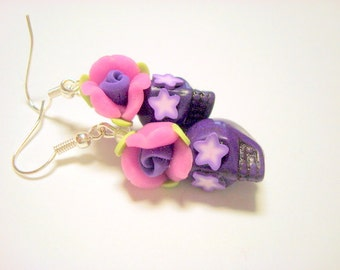 Purple Starry Eyes Day of the Dead Floral Sugar Skull Earrings Small