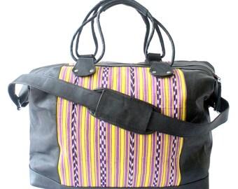 Esmerie Black Leather Weekender Bag
