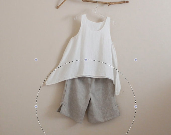custom summer linen shorts / made to measure comfy linen shorts / elastic waist linen shorts / casual linen shorts / petite / plus size