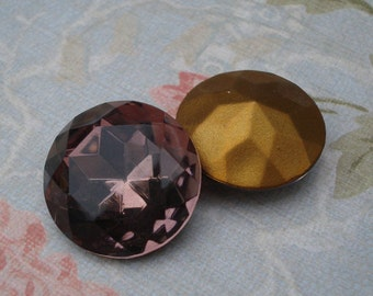 Vintage 20mm Czech Light Amethyst Gold Foiled Pointed Back Faceted Round Glass Jewel (1 piece)