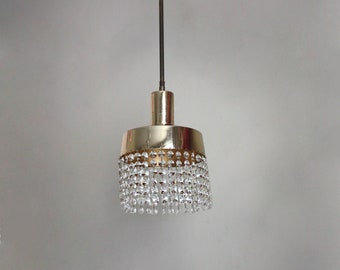 1960s pendant light /ceiling lamp from 'gold' metal and crystal glass beads. Midcentury modern bohemian hallway /entryway/ bedroom light