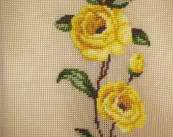 Yard Long of Yellow Roses Preworked Needlepoint by Monica Imports, Fiber Arts Inventory Destash, Roses Table Runner or Bell Pull