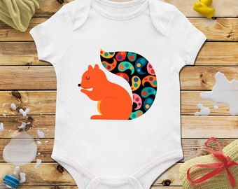 Squirrel baby onesie, Squirrel baby shower, Personalized baby onesie, Baby girl onesie, Baby boy onesie, Funny baby clothing, Animal clothes