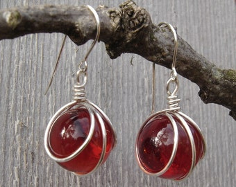 Ruby Red Glass Marble Earrings, Christmas Earrings, Gift for Her Marble Jewelry Sterling Silver Wire Wrapped Earrings, Dangle Earrings Women