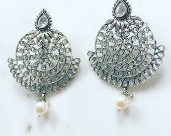Round Silver and Uncut Crystal Earrings with Pearl Drops