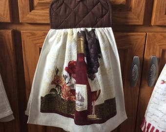 Hanging Towel, Quilted Towel, Wine towel, Brown towel, Kitchen towel,