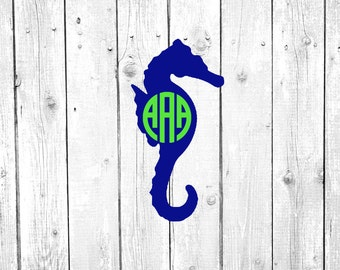 Seahorse Decal, Seahorse Monogram, Vinyl Decal, Yeti Decal, Car Decal, Gifts for her, Phone Decal, Laptop Decal, Yeti Cup
